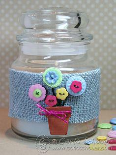 Button flowerpot Candle hostess gift