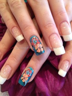 White French with freehand nail art