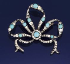A diamond and turquoise brooch circa 1870
