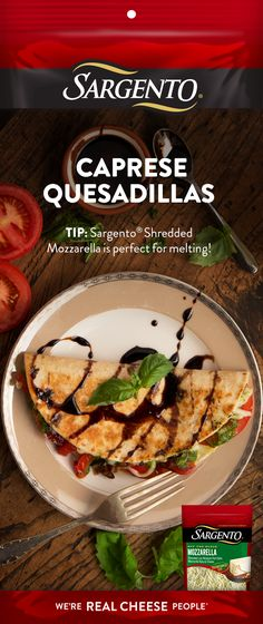 Fresh pesto, basil, Sargento® Shredded Mozzarella — these deliciously simple Caprese Quesadillas are the perfect fusion of Mexican and Italian flavor. Perfect as either a quick snack or as an entrée. Click to get the full recipe.