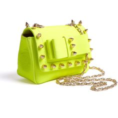 AILA Spike Me Neon Yellow Small Bag With Studs ($330) ❤ liked on Polyvore
