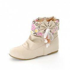 $17.76 New Arrival Fashionable and Sweet Style Bowknot and Floral Printing Pattern Embellished Boots For Female
