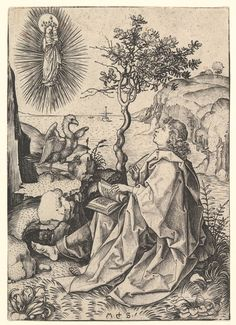 John the Evangelist on the Isle of Patmos. Creator: Martin Schongauer (German, Fine Art Print on Paper made in the UK Martin Schongauer, St John The Evangelist, Johannes, Saint Jean, Wood Engraving, Metropolitan Museum, Poster Size Prints, Les Oeuvres, Art