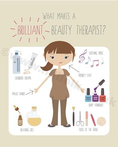 Beauty Therapist art print INSTANT DOWNLOAD professions, anatomy of a beautician by Hillfolkillustration on Etsy