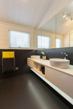Tracy revives a kiwi icon | Habitat by Resene Home Design Plans, Plan Design, Aluminium Joinery, Timber Walls, Acoustic Panels, Black Kitchens, Home Renovation, House Plans, Kiwi