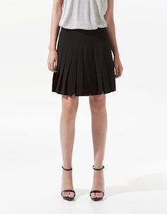It's all in the details-- BOX PLEAT SKIRT WITH METALLIC DETAILING - Skirts - Woman - ZARA United States