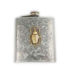 Steampunk Antique Gold Egyptian Scarab Flask Neo Victorian Beetle Inlaid in Hand Painted Silver Swirl Stainless Steel Metal Hip Flask