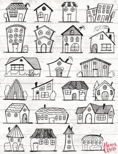 Grab yourself some adorable hand drawn Houses clipart, perfect for Logos, invitations, birthdays, weddings, scrapbooking, girls bedroom and nurseries. Includes 22 different clipart shapes and types. All hand illustrated using art fountain pen by Alexia Claire and not digitally