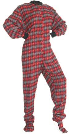 bafcdd63c9 Red Flannel w Hearts Footie Pajamas - Big Feet PJs I d even fit