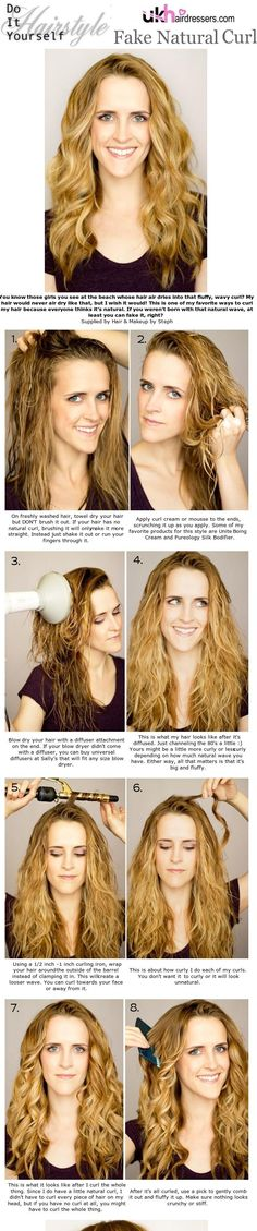 DIY Styles - Fake Natural Curl #ukhairdressers  Love this natural and no fuss look  Visit www.ukhairdresser...  For more