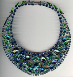 JULIANA VINTAGE KNOCK OUT BLUE & GREEN PEACOCK RHINESTONE BIB NECKLACE