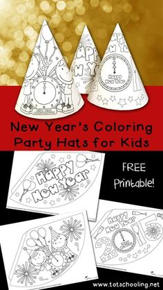 New Years Coloring Party Hats. Printable activity for New Year's Eve for kids to color, decorate and turn into party hats!Free New Years Coloring Party Hats. Printable activity for New Year's Eve for kids to color, decorate and turn into party hats! New Years With Kids, New Years Hat, Kids New Years Eve, New Years Tree, New Year's Crafts, Holiday Crafts, Crafts For Kids, Simple Crafts, New Year's Eve Colors
