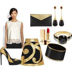 """Gold & Black"" by duvessa87 on Polyvore"