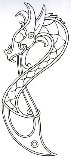 Viking Dragon Outline2 by vikingtattoo.deviantart.com on @deviantART
