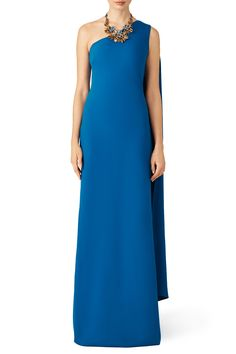 Rent Teal Daphne One Shoulder Gown by Slate & Willow for $75 only at Rent the Runway.