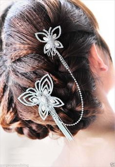 Bridal Faux Pearl Crystal Rhinestone Headpiece Butterfly Hair Tiara Comb RB532 | eBay