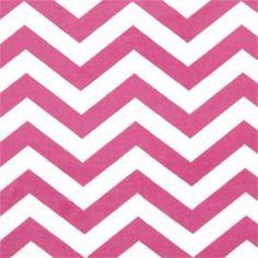 Chevron Small Minky Hot Pink White Soft Fabric;