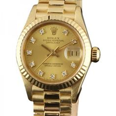 Pre-owned Rolex Datejust 69178 Gold Factory Champagne Diamond 26mm... ($7,050) ❤ liked on Polyvore featuring jewelry, watches, gold wristwatch, 18k watches, rolex wrist watch, preowned watches and gold jewelry