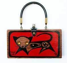 Enid Collins of Texas Hapi Cat Box Bag by niwotARTgallery on Etsy