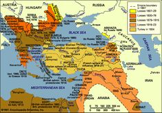 Map of decline of Ottoman Empire Ottoman Turks, Places In Europe, Historical Maps, Turkey Travel, Ottoman Empire, Black Sea, Paris, American Civil War, Big Ben London