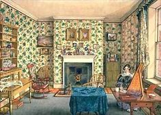 Giclee Print: The Artist in Her Painting Room, York by Mary Ellen Best : The Artist, Artist At Work, Said Wallpaper, Old Fashioned House, Victorian Parlor, Victorian Life, Vintage Interiors, Art Interiors, Victorian Interiors