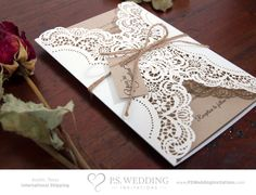 Brown Paper Lace Wedding Invitation with White Doily & Twine String Bow  Kraft Paper Bag  SAMPLE