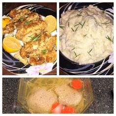 Chicken Francese, garlic-rosemary mashed potatoes & matzah ball soup.