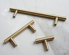 T Bar Solid Brass Cabinet Handles Brass Door Handles Brass Door Handles, Knobs And Handles, Drawer Knobs, Cabinet Handles, Drawer Pulls, Kitchen Hardware, Kitchen Handles, Kitchen Cupboard, Kitchen Dining