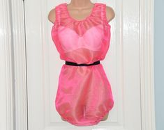 Items similar to NH 160 Candy pink organza all-in-one teddy, sheer sissy lounging wear, Adult Baby (AB) maybe?, Sissy Lingerie on Etsy Pullover Shirt, Girly, Satin, Pink Candy, Legs Open, Night Gown, Sexy Lingerie, All In One, Two Piece Skirt Set