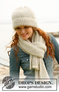 "Set consists of: Knitted DROPS hat and scarf with English rib in ""Alpaca"" and ""Kid-Silk"". ~ DROPS Design"