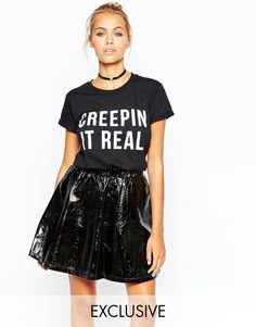 Image 1 of Adolescent Clothing Halloween T-Shirt With Creepin It Real Print