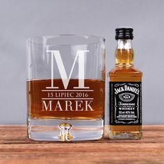 Zestaw szklanka i buteleczka whisky INICJAŁ