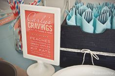 Love the idea of serving the mama to be's cravings at her baby shower! What a fun, random assortment!