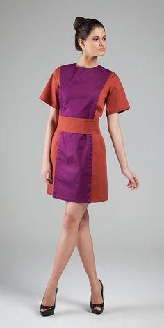 Vestido - Cotton Broken Elastano #movimentosilencioso #moda #tecidosdealgodão #elegancia #vestidos #bicolores #colarless