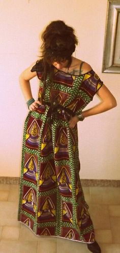 African prints maxi dress by Matris Fortuna on Etsy.