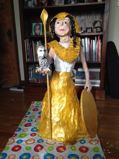 Papier-mache Athena statue for school project. Almost three feet tall. School Projects, To My Daughter, Artworks, That Look, Art Pieces, Sari, Statue, Disney Princess, Crafts