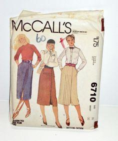 McCalls Pattern 6710 Set of Skirts Misses Juniors Teen 1979 Size 16 Pleat & Wrap #McCall #PleatedWrapSkirt