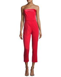 Elizabeth Strapless Tuxedo Jumpsuit, Bright Red