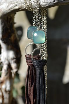 Long Sterling Silver Necklace with Peruvian by uniquebeadingbyme #leather #tassel