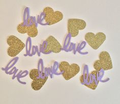 Lavender and Gold Confetti Love Confetti by Prettyinpinkparty