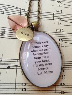 AA Milne Winnie the Pooh quote necklace by MummybirdPretties