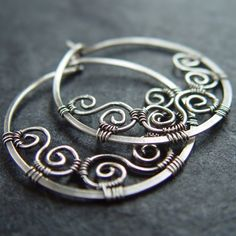 Spiral Hoops - 925 Sterling silver Earrings by Natural Jewels