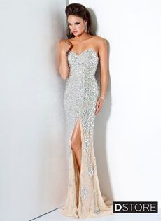 Vestido tomara que caia, fenda, em pedrarias Alberta 4247 : Dstore Miami, Vestidos de Festa Importados