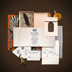 These stylish destination-inspired Atelier Isabay wedding invitations—featuring zebra patterns and other South African motifs—came in classic mailer boxes. Marriage Invitation Wordings, Acrylic Wedding Invitations, Bespoke Wedding Invitations, Destination Wedding Invitations, Wedding Stationary, Wedding Boxes, Wedding Paper, Wedding Stationery Trends, Invitation Design