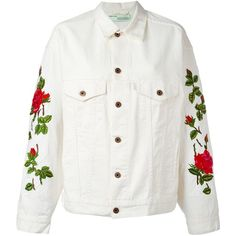 Off-White rose embroidered jacket (49.865 RUB) ❤ liked on Polyvore featuring outerwear, jackets, coats, coats & jackets, tops, off white jacket, embroidery jackets and embroidered jacket