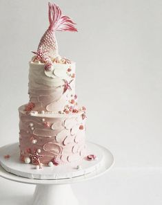 Little Mermaid Cakes, Mermaid Birthday Cakes, Baby Birthday Cakes, 8th Birthday, Fondant Cakes, Cupcake Cakes, Mermaid Bridal Showers, Ariel Cake, Art Deco Cake