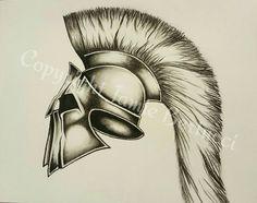 Original 9x12 Charcoal Roman Galea Helmet Drawing #trojan #spartan #greek #drawing #wallart