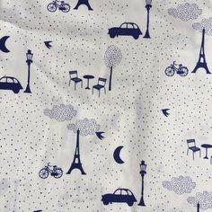 Souvenirs de Paris Blue soft cotton - Mikodesign