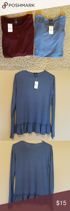 2 shirt bundle NWT- womans size Large 2 shirts size Large- NWT- Blue shirt is long sleeve, Burgandy shirt is 3/4 sleeve-Thinner material, these are not sweaters (63%polyester/34% Rayon/3% Spandex) Rue 21 Tops Blouses