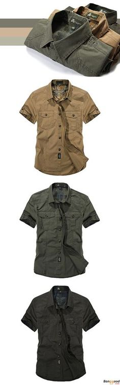 Outdoor Cotton Breathable Multi Pockets Cargo Short Sleeve Work Shirts for  Men 81c4175bbbb